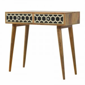MAAYA Bone Inlay Solidwood Console Hall table geometric pattern