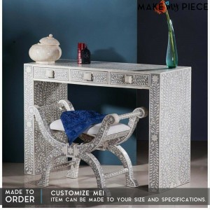 MAAYA Bone Inlay wooden 3 Drawers Hall Table Grey
