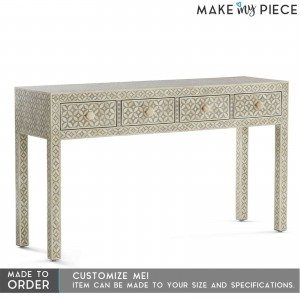 MAAYA Bone Inlay Solid wood 4 Drawers Hall Side Table