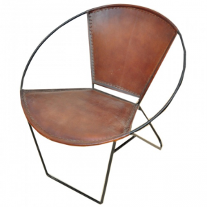 Aged Leather Metal Round Tub Cafe Chair 69x77x75 cm