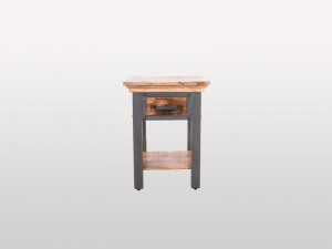 Solid Wood Industrial Side Table 1 Drawer