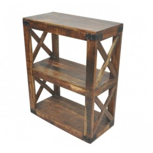 Metal Factory Timber Bookshelf On Wheels