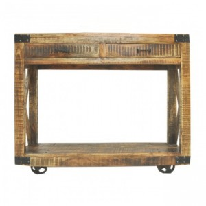 Metal Factory Console Table On Wheels