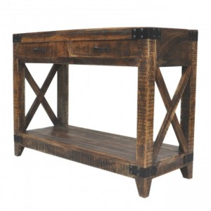 Metal Factory Timber Console Table Brown
