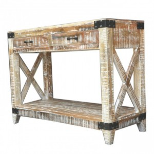 Metal Factory Timber Console Table White