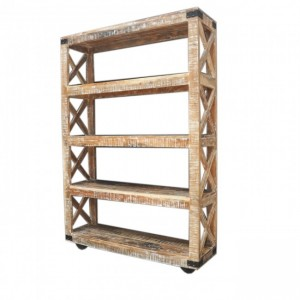 Metal Factory Bookshelf On Wheels Large White