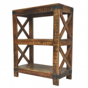 Metal Factory Timber Bookshelf Brown Small