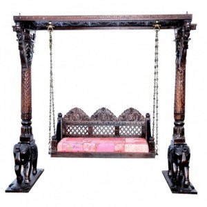 Hand Carved Elephant Design Swing Daybeds 215CM