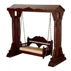 Hand Carved Elephant Design Swing Daybed Brown