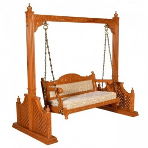 Hand Carved Elephant Design Swing Daybed Honey Brown