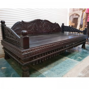 Mughal Garden Hand Carved Peacock Daybed Chocolate