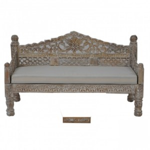 Mughal Garden Hand Carved Balinese Daybed Limewash M