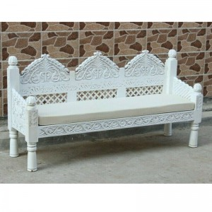 Mughal Garden Hand Carved Indian Daybed White 150cm