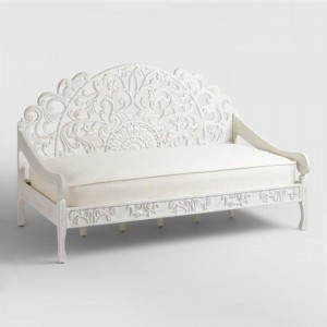 Mughal Garden Hand Carved Jali Daybed White Large