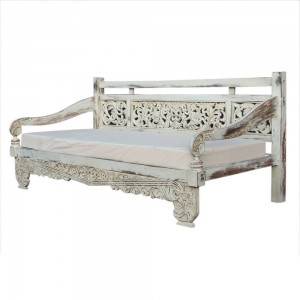 Mughal Garden Hand Carved Bali Daybed White Large