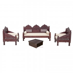 Mughal Garden Hand Carved Indian Daybed Set of 4 Brown