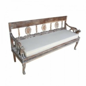 Mughal Garden Hand Carved Lion and bird Daybed Bench