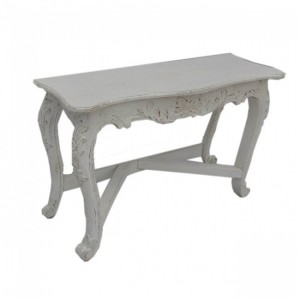 Hand Carved Console Hall Table White