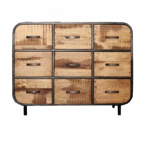 MILLER Industrial Timber Iron Chest of Drawers