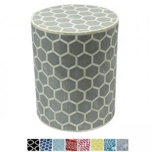 Maaya Bone Inlay Round drum Side Table Grey Honeycomb L