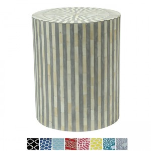 Maaya Bone Inlay Round drum Side Table Grey Striped L