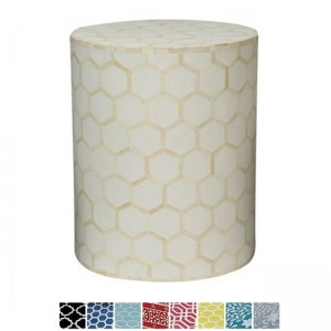 Maaya Bone Inlay Round drum Side Table White Honeycomb L