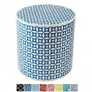 Maaya Bone Inlay Round drum Side Table Blue Geometry L