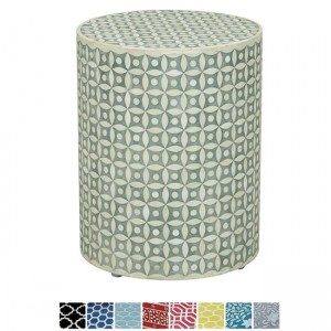 Maaya Bone Inlay Round drum Side Table Grey Geometry L