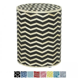 Maaya Bone Inlay Round drum Side Table Black Zigzag L
