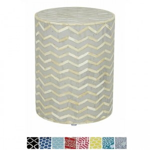 Maaya Bone Inlay Round drum Side Table Grey Zigzag L