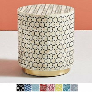 Maaya Brass Bone Inlay Round drum Side Table Blue Daisy