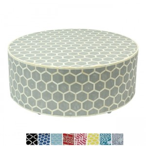 Maaya Bone Inlay Round drum Coffee Table Black Honeycomb
