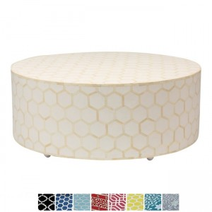 Maaya Bone Inlay Round drum Coffee Table White Honeycomb