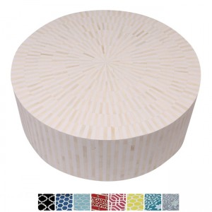 Maaya Bone Inlay Round drum Coffee Table Pink Striped