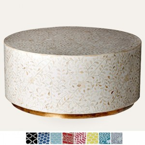 Maaya Brass Bone Inlay Round drum Coffee Table White floral
