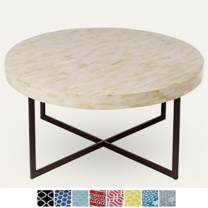 Maaya Metal Bone Inlay Round base Coffee Table White