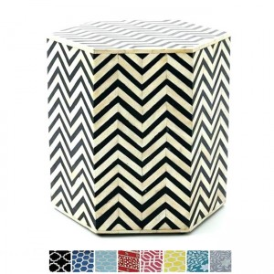 Maaya Bone Inlay Hexagonal drum Side Table Black Zigzag L