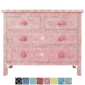 Maaya Bone Inlay Chest of 4 drawers dresser Pink Floral