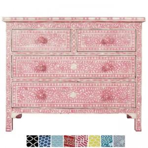 Maaya Bone Inlay Chest of 4 drawers dresser Pink Floral