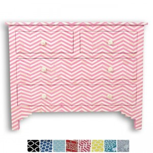 Maaya Bone Inlay Chest of 4 drawers Pink Chevron Zigzag