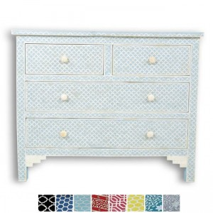 Maaya Bone Inlay Chest of 4 drawers dresser Baby Blue Fishscale