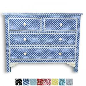Maaya Bone Inlay Chest of 4 drawers dresser Blue Fishscale