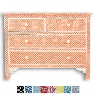Maaya Bone Inlay Chest of 4 drawers dresser Orange Fishscale