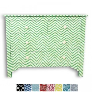 Maaya Bone Inlay Chest of 4 drawers Green Chevron Zigzag