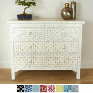 Maaya Bone Inlay Chest of 4 drawers White Mother of pearl