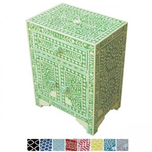 Maaya Bone Inlay Bedside cabinet Lamp table Green Floral