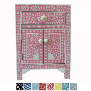 Maaya Bone Inlay Bedside cabinet Lamp table Pink Floral