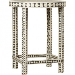 Maaya Bone Inlay Small Round Side Table Stool Stand A