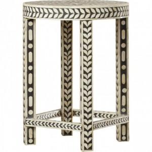 Maaya Bone Inlay Small Round Side Table Stool Stand B