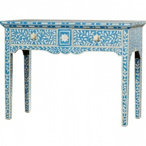 Maaya Bone Inlay 2 Drawers console desk hall table Blue